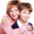 Stock Photo: Portrait of mother and 9 year old son isolated on white