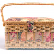 Stock Photo: Knitting basket isolated on white background