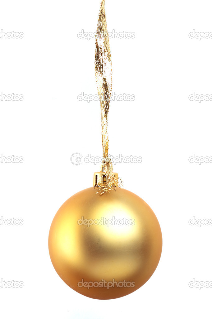 Golden christmas ball isolated on white background  Stock Photo #5246305