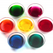 Glass caps with dyes — Stock Photo