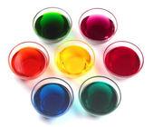 Bouchons de verre avec des colorants — Photo