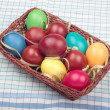 Basket with colorful easter eggs — Stock Photo #5312881