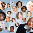 Social network of businesswoman. - Foto de Stock  