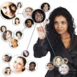 Social network of African American businesswoman — Stock Photo