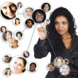Stock Photo: Social network of African American businesswoman