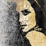 graffiti de femme sur un ancien mur — Photo