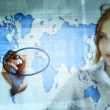 Stock market and the world map — Stock Photo