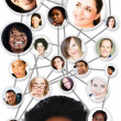 Stock Photo: African woman social network diagram