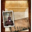 Grunge postcard and picture from Paris — 图库照片