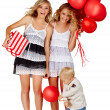 Two girls and a little boy with balloons. — Stock Photo