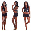 Three poses of African woman with long hair — Stock Photo
