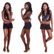 Three poses of African woman with long hair - Stock Photo