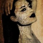 Graffiti of a beautiful woman on an ancient wall — Stock Photo
