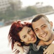 Turkish couple at sea — Stock Photo