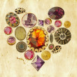 Precious stones heart on grunge background — Stock Photo