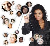 Réseau social de la femme d'affaires américaine africaine — Photo