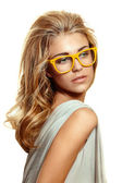 Woman in yellow glasses — Foto de Stock
