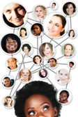 African woman social network diagram — Stockfoto