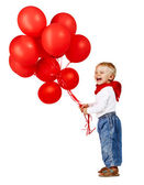 Boy with red ballons. — Stock Photo