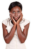 African Amercian businesswoman in shock — Stock Photo