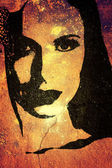 Woman face graffiti on the wall. — Stock Photo