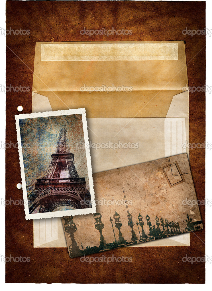 Grunge postcard and picture with Eiffel Tower and bridge in Paris and empty envelop on a dark texture background . — Stock Photo #5289048