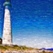 Lighthouse painting against blue sky — Stock Photo