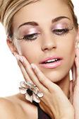 Beautiful woman with long eyelashes. — Stock Photo
