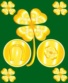 St. Patricks Day Clover and Gold — Stock Vector