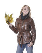 Autumn girl with leaves — Stock Photo
