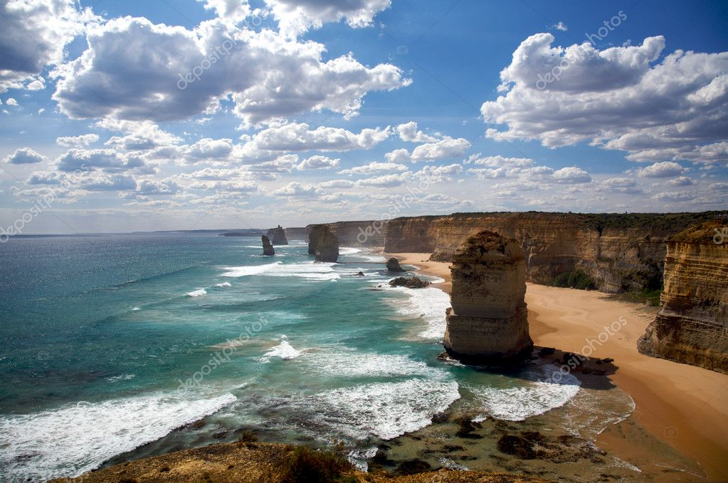 Nature wonder in Melbourne, Australian. Twelve apostles sandstone formations near the great ocean drive in Victoria  Stock Photo #5255425