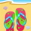 Slipper on Beach - Stock Vector