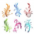 Vector de stock : Colorful Floral Swirls
