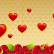 Royalty-Free Stock Vector Image: Valentine Card with Hanging Hearts