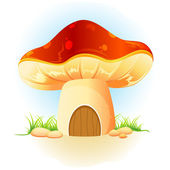 Mushroom home in garden — Stock Vector