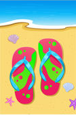 Slipper on Beach — Stock Vector