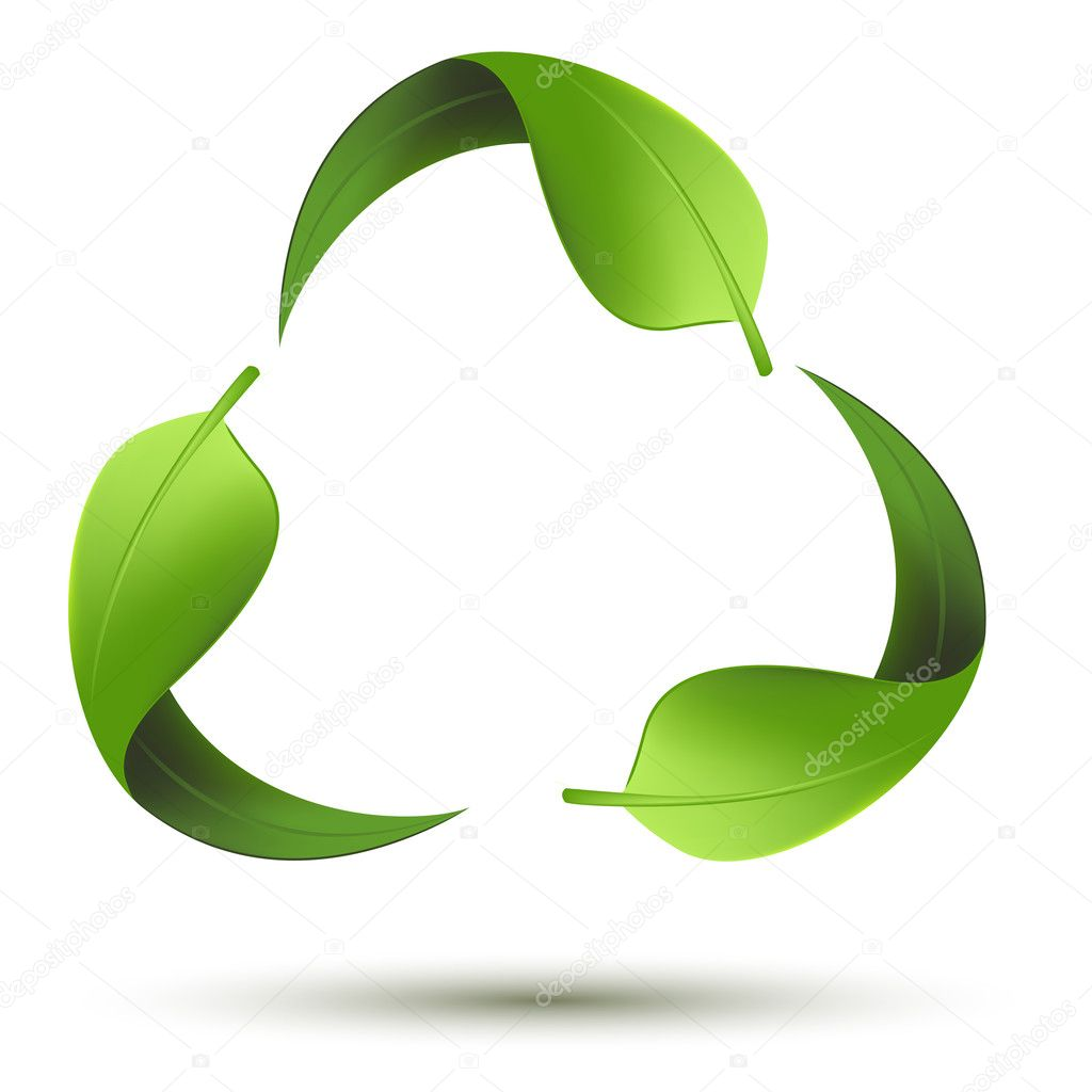 Illustration of recycle symbol with leaf on isolated background — Stock Vector #5140681