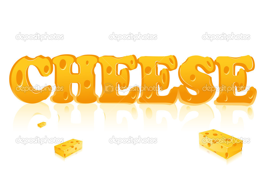 Illustration of Word Cheese written with cheese on isolated background.. — Stock Vector #5141471