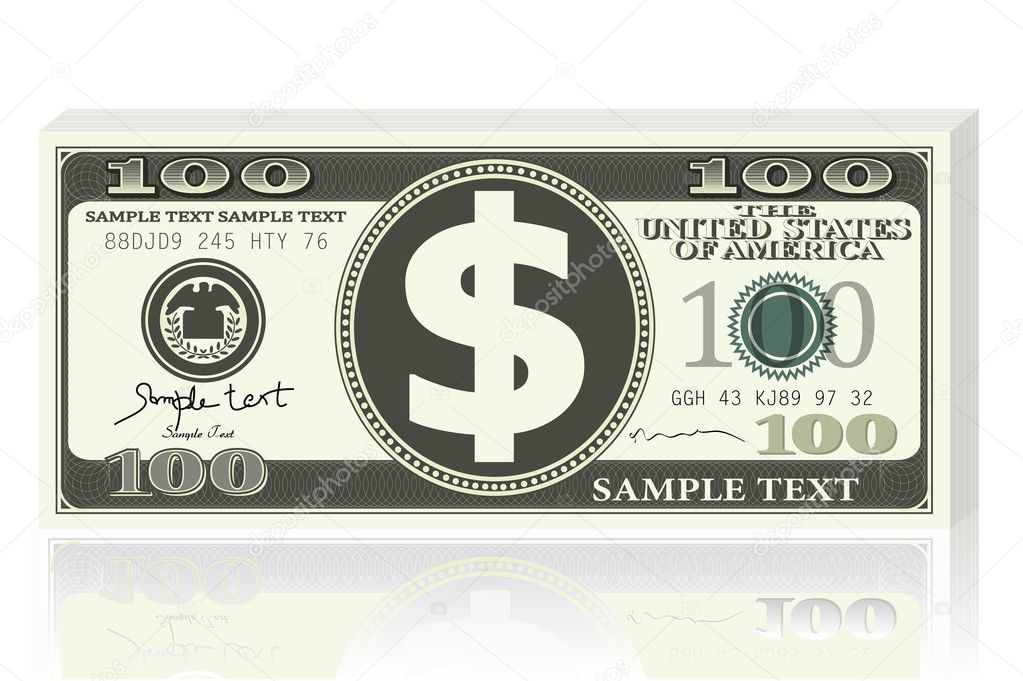 Illustration of dollar note on white background — Stock Vector #5148128