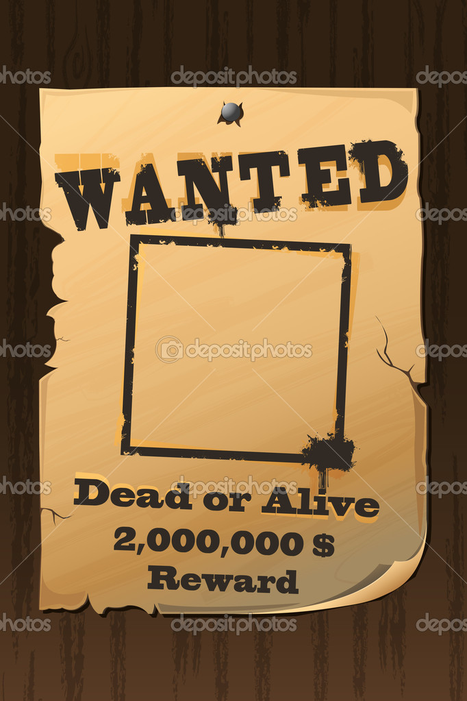 Illustration of vintage wanted poster with dead or alive text — Stock Vector #5148467