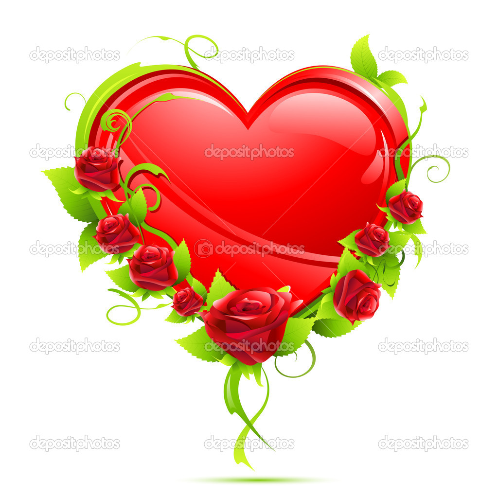 Illustration of valentine card with heart and roses on isolated background  Stock Vector #5148505
