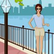 Stock Vector: Trendy Lady Standing on Street