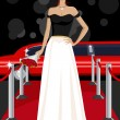 Glamorous Lady on Red Carpet - Stok Vektör