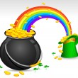 Saint Patrick's Hat and Pot filled with Gold Coins - Stock Vector