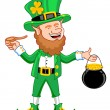 Leprechaun with Smoking Pipe and Gold Coin Pot - Stock Vector
