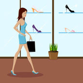 Fashionable Lady Shopping — Stock Vector