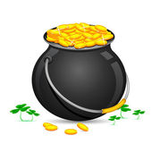 Gold Coin Pot of Saint Patrick Day — Stock Vector