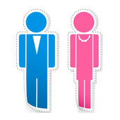 Male and Female Stickers — Stock Vector