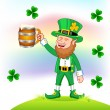 Leprechaun with beer mug — Stock Vector