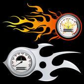 Fiery Speedometer — Stock Vector